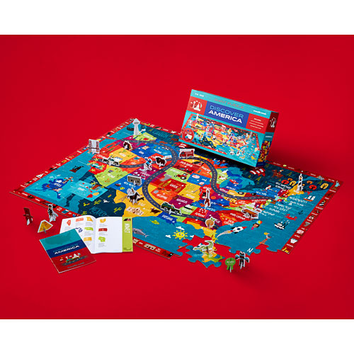 """Crocodile Creek Discover America Learn + Play 100 piece Jigsaw Floor Puzzle and 21 Figures, 36"""""""
