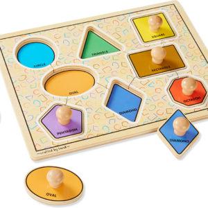Deluxe Jumbo Knob Wooden Puzzle - Geometric Shapes (8 pcs)