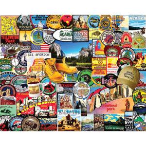 National Park Badges-1000 Piece Puzzle-White Mountain Puzzles