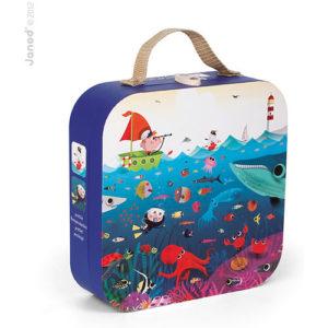 "Round Suitcase - 100 Pcs Puzzle ""Underwater World"""