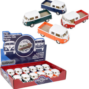 """5"""" Diecast Pull Back 1963 Vw Double Cab Pick Up (12Pcs/Display)"""