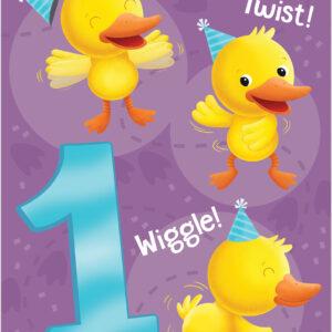Age 1 Duck Foil Birthday Card